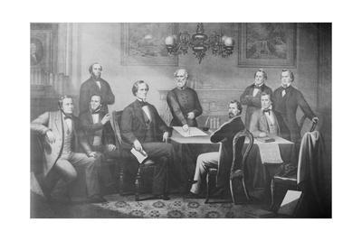 Engraving of Jefferson Davis and His Cabinet