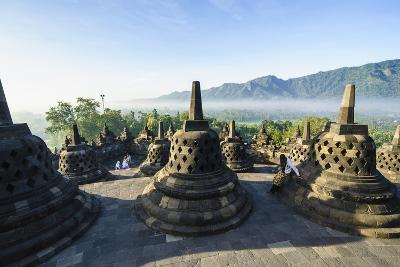 Early Morning Light at the Temple Complex of Borobodur, Java, Indonesia, Southeast Asia, Asia