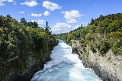 Narrow Chasm Leading in the Huka Falls on the Waikato River, Taupo, North Island