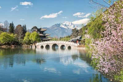 Moon Embracing Pavilion and Suocui Bridge at Black Dragon Pool in Jade Spring Park, Lijiang, Yunnan