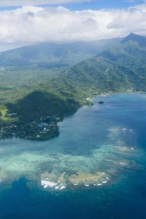 Aerial of the Island of Upolu, Samoa, South Pacific, Pacific