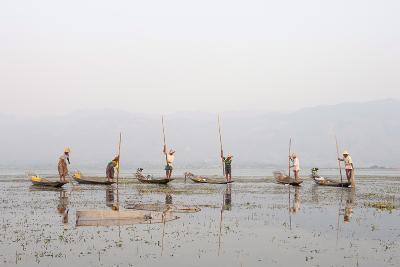 Intha Leg Rowing Fishermen at Dusk, Inle Lake, Nyaungshwe, Shan State, Myanmar (Burma), Asia