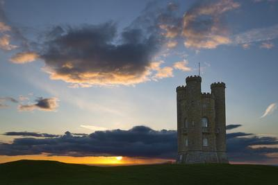 Broadway Tower at Sunset, Broadway, Cotswolds, Worcestershire, England, United Kingdom, Europe