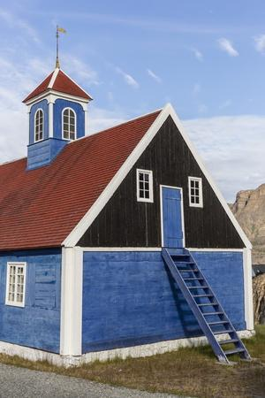 Brightly Painted House with Ladder to Upstairs Storage in Sisimiut, Greenland, Polar Regions
