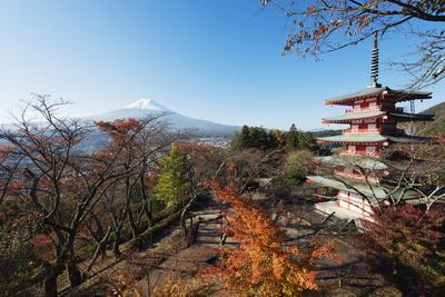 Mount Fuji 3776M and Arakura Sengen Jinja Shinto Shrine, Honshu, Japan, Asia