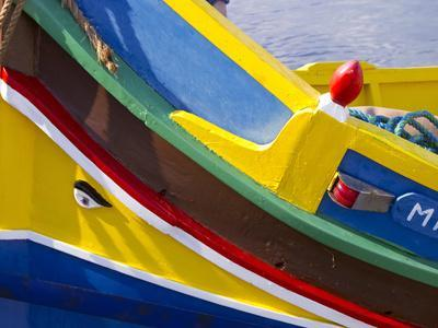 Detail of a Fishing Boat, St. Paul's Bay, Malta, Mediterranean, Europe