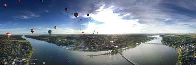 Hot Air Balloons Flying over a River, Saint-Jean-Sur-Richelieu, Quebec, Canada