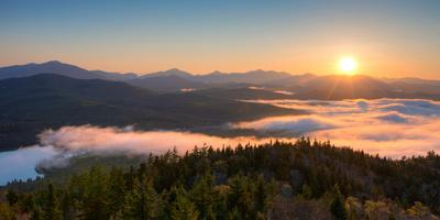 Sunrise over the Adirondack High Peaks from Goodnow Mountain, Adirondack Park, New York State, USA