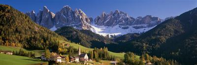 Trees and Farmhouses in a Field with Mountains in the Background, Santa Maddalena, Funes Valley