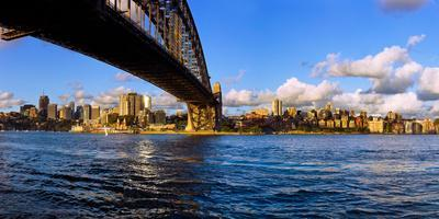 Sydney Harbour Bridge with City at Waterfront, Sydney, New South Wales, Australia
