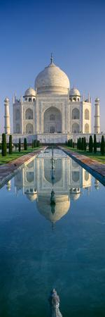Reflection of a Mausoleum on Water, Taj Mahal, Agra, Uttar Pradesh, India