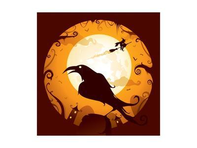 Halloween - Crow in Halloween Night