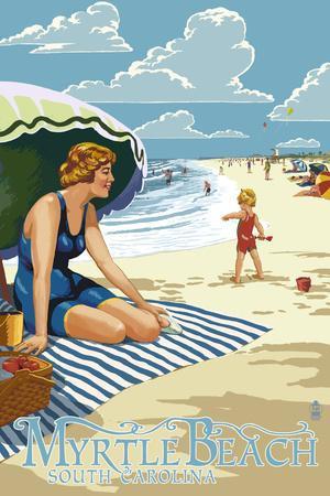 Myrtle Beach, South Carolina - Woman on Beach