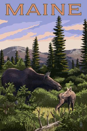 Maine - Moose and Baby Scene
