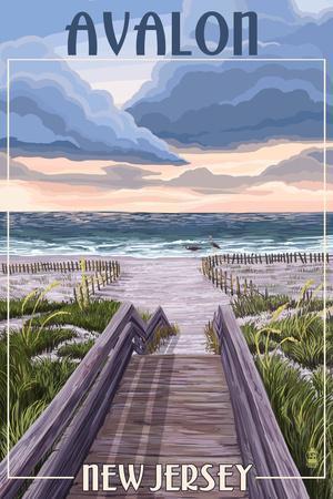 Avalon, New Jersey - Beach Boardwalk Scene