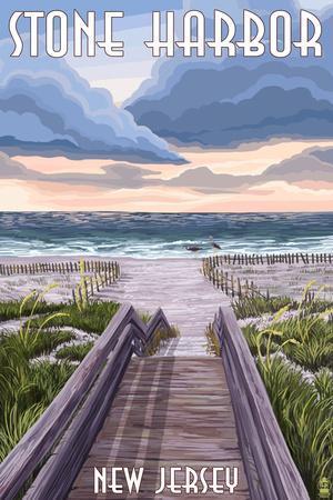Stone Harbor, New Jersey - Beach Boardwalk Scene