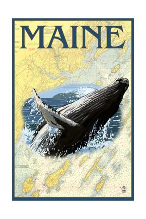 Maine - Humpback Whale and Nautical Chart