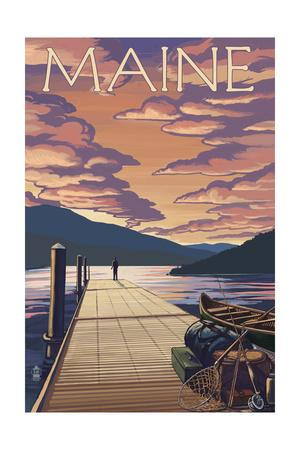 Maine - Dock and Sunset Scene
