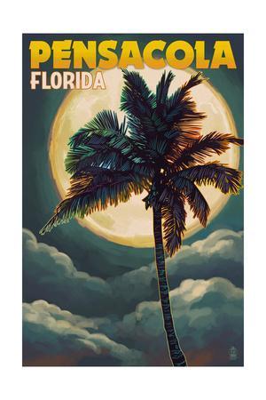 Pensacola, Florida - Palms and Moon