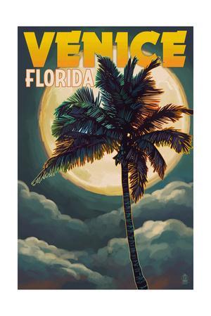 Venice, Florida - Palms and Moon