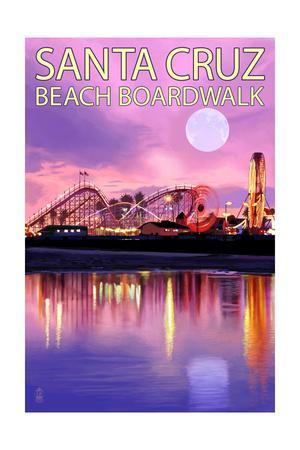 Santa Cruz, California - Beach Boardwalk and Moon at Twilight
