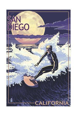 San Diego, California - Night Surfer