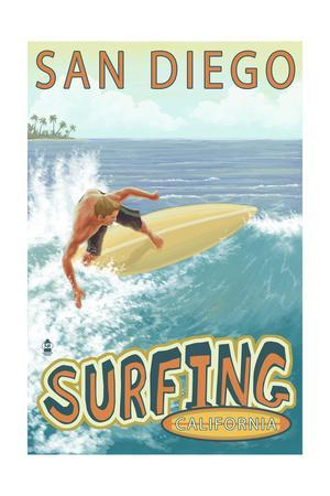 San Diego, California - Surfer Tropical