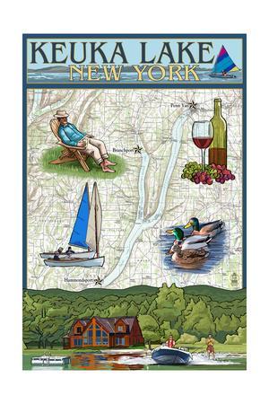 Keuka Lake, New York - Nautical Chart