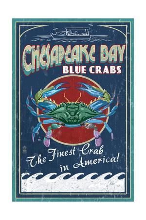 Chesapeake Bay, Virginia - Blue Crab Vintage Sign