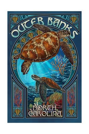 Outer Banks - North Carolina - Sea Turtle Art Nouveau