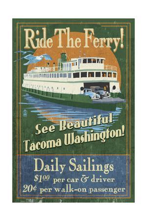 Tacoma, Washington - Ferry Ride Vintage Sign
