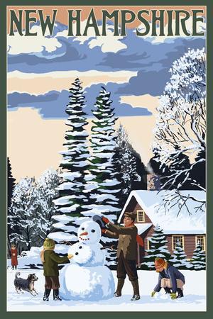 New Hampshire - Snowman Scene