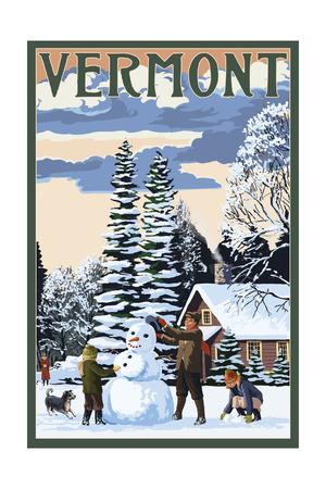 Vermont - Snowman Scene