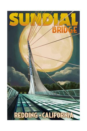 Redding, California - Sundial Bridge and Moon