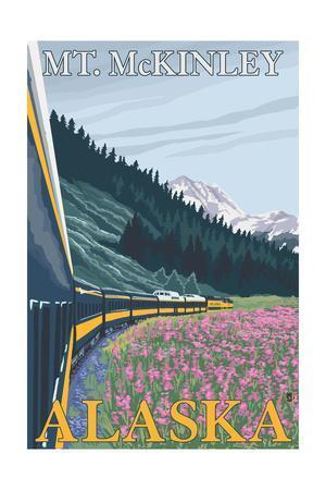 Mt. McKinley, Alaska - Railroad Scene