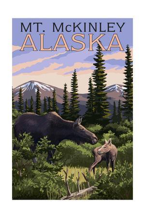 Mt. McKinley, Alaska - Moose and Calf