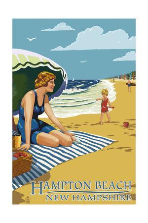 Hampton Beach, New Hampshire - Woman on the Beach