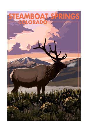 Steamboat Springs, Colorado - Elk and Sunset
