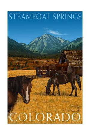 Steamboat Springs, Colorado - Horses and Barn