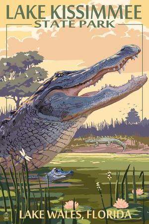 Lake Wales, Florida - Alligator Scene