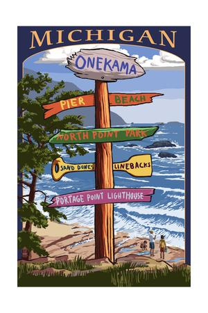 Onekama, Michigan - Sign Post