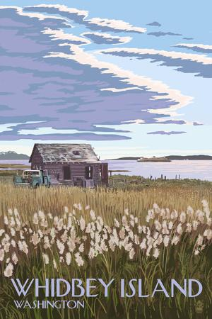 Whidbey Island, Washington - Farm and Ferry Scene
