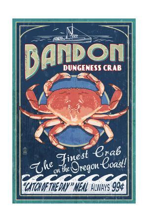 Bandon, Oregon - Dungeness Crab Vintage Sign