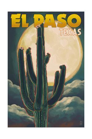 El Paso, Texas - Cactus and Full Moon