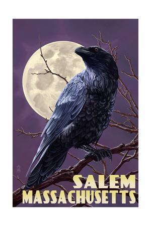 Salem, Massachusetts - Raven and Moon Purple Sky
