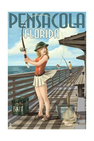 Pensacola, Florida - Fishing Pinup Girl