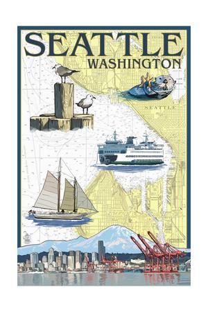 Seattle, Washington - Nautical Chart