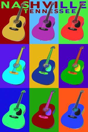 Nashville, Tennessee - Acoustic Guitar Pop Art