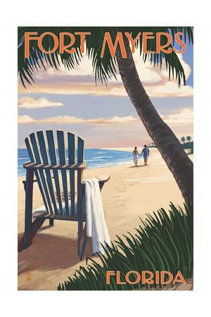 Fort Myers, Florida - Adirondack Chair on the Beach