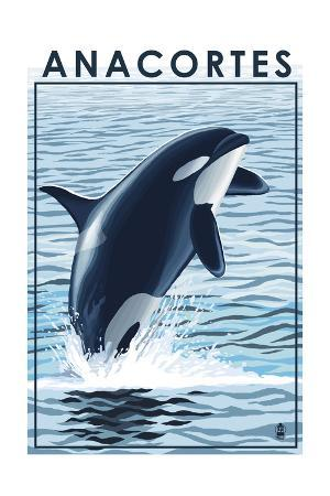 Anacortes, Washington - Orca Whale Jumping